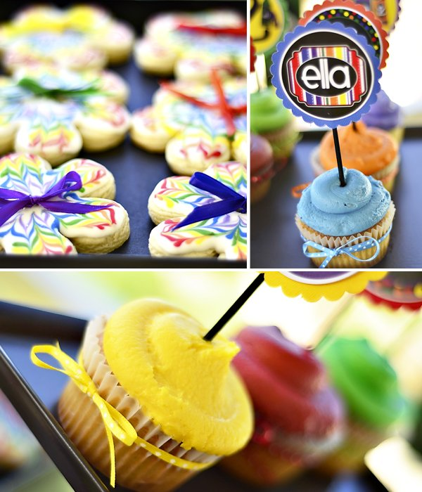 rainbow crayon party cupcakes and cookies