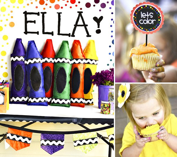 Crayon Birthday Party Decorations and Cupcakes