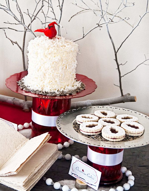 Red and White Cardinals Christmas - Snowflake Cake