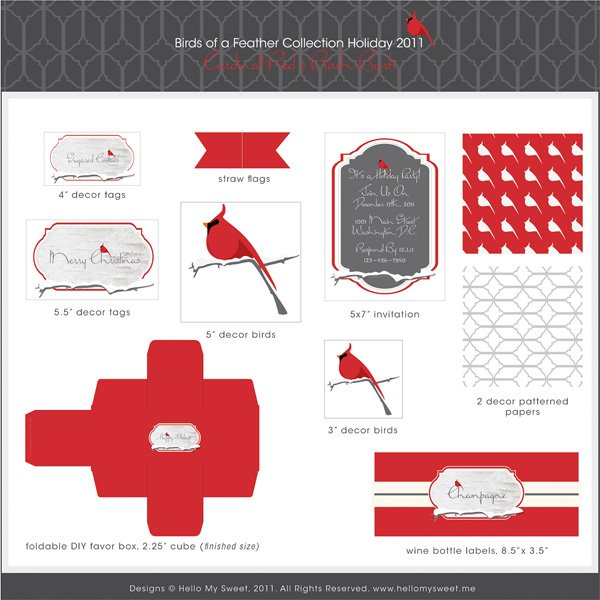Cardinal Red Printable Holiday Collection by Hello My Sweet