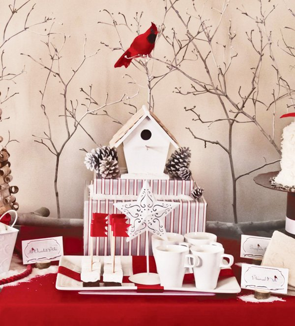 Red and White Cardinals Christmas