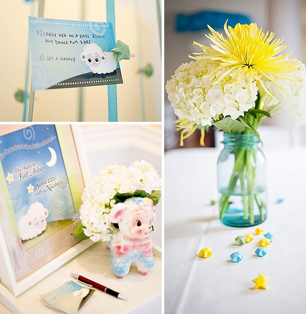 Lullaby Baby Shower Decorations and flowers