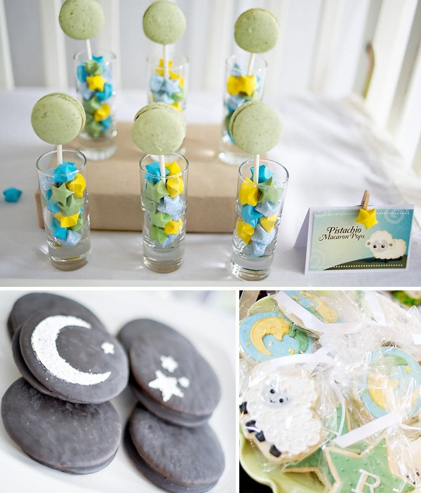 macaroon pops, twinkle star cookies, baby shower lamb cookies