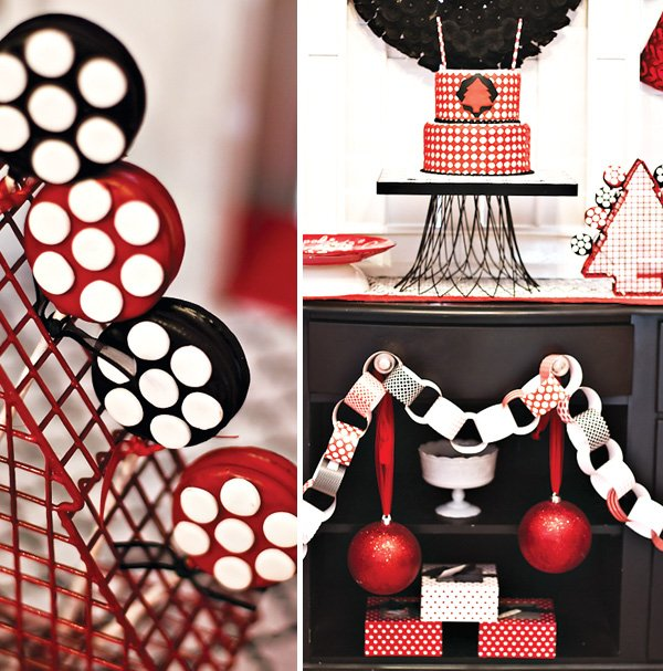Modern red black white Christmas party