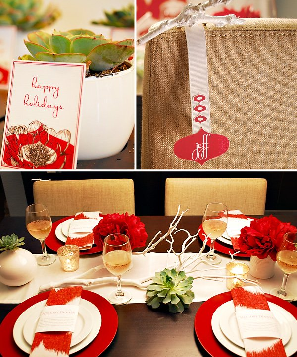 Red and White Ikat Holiday Dinner Party