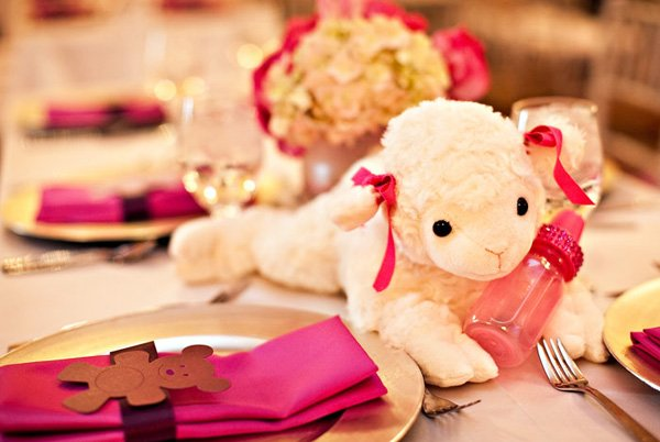 pink sparkly lamb baby shower centerpiece