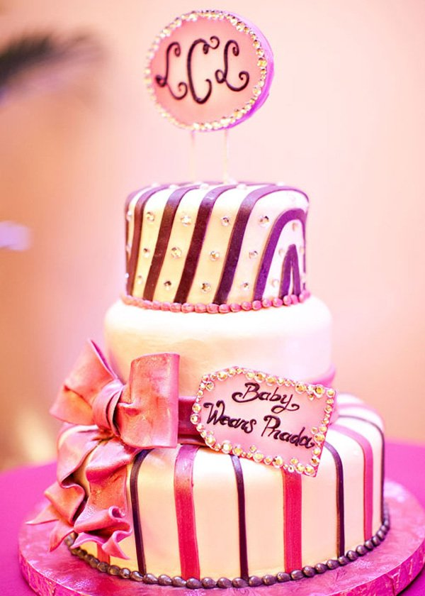 Baby Wears Prada themed baby shower cake