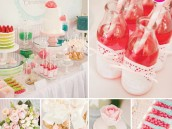 modern christening party and dessert table