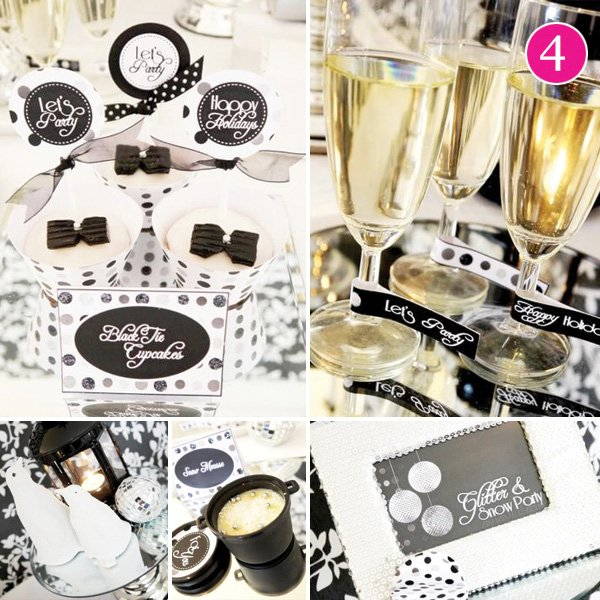 black and white new years eve party desserts and drinks