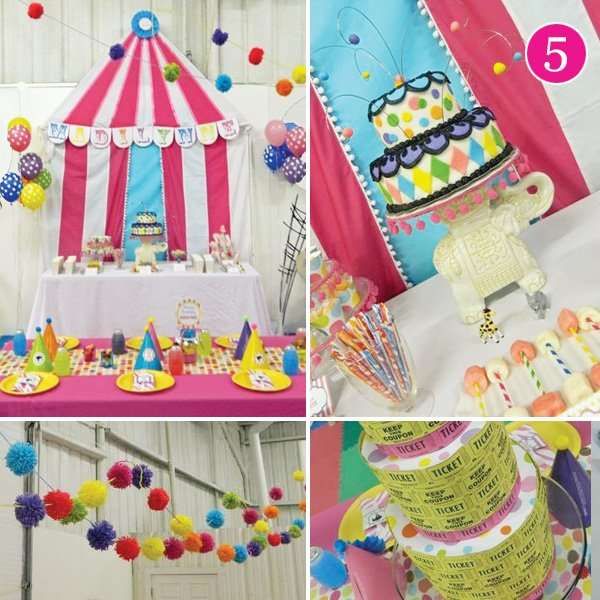 circus themed birthday party dessert table