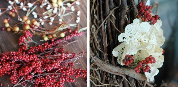Adding Seasonal Floral Picks around the Flower Doily Clusters