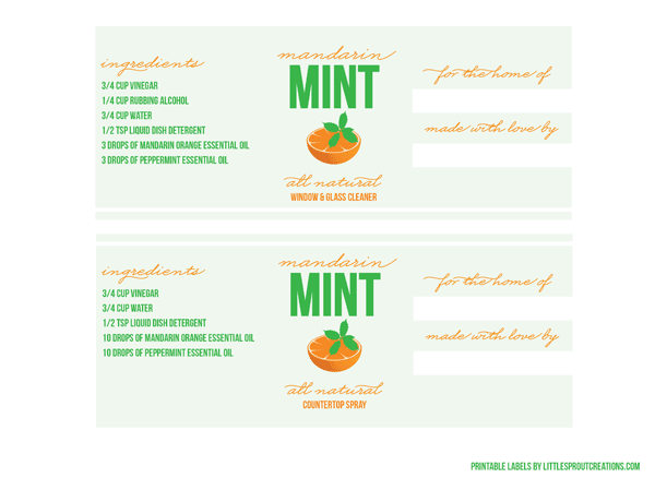 free printable labels for all natural cleaners