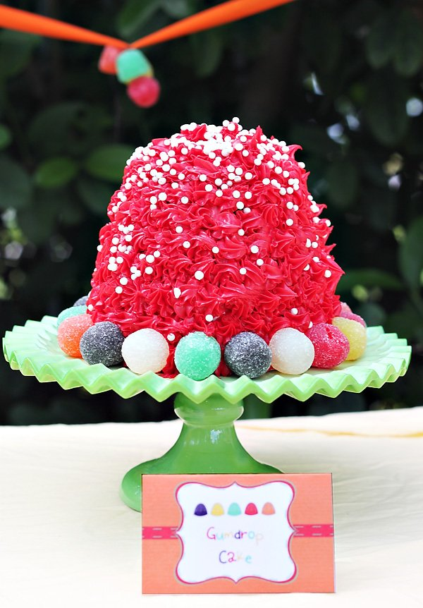 gumdrop candy party birthday cake