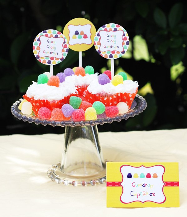 gumdrop candy party cupcakes