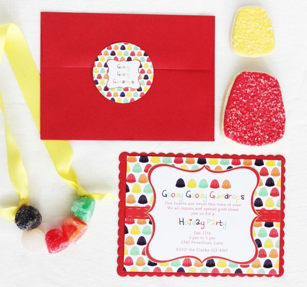 gumdrop candy party invitations