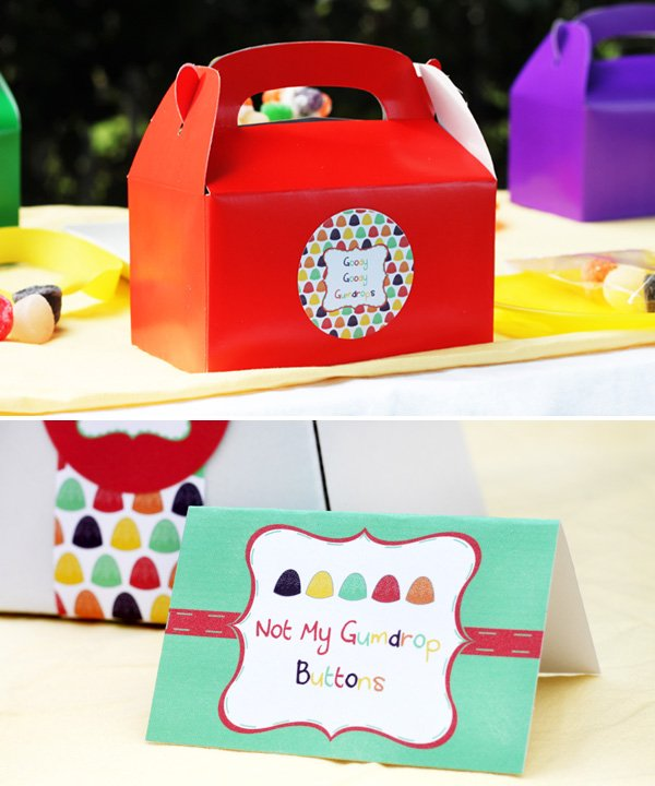 gumdrop candy party ideas - lunch table and stationery
