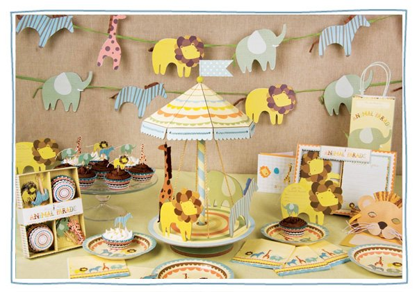baby shower or kids birthday party supplies - circus animal parade