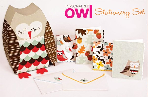 personalized owl stationery