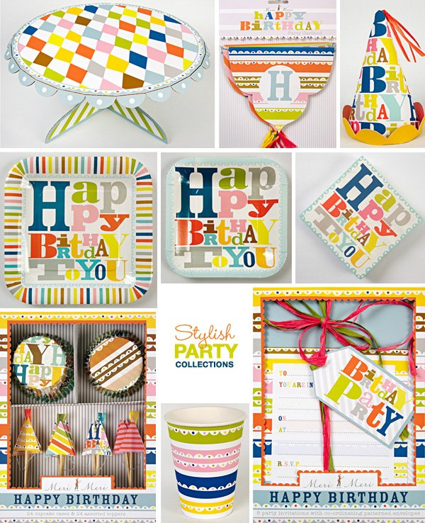 Modern Birthday Party Supplies - paper plates, napkins, cups and more