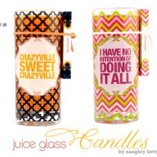 Hostess Gift Idea - Naughty Betty Juice Glass Candle Sets