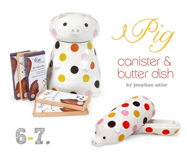 modern pig cookie jar and butter dish by jonathan adler
