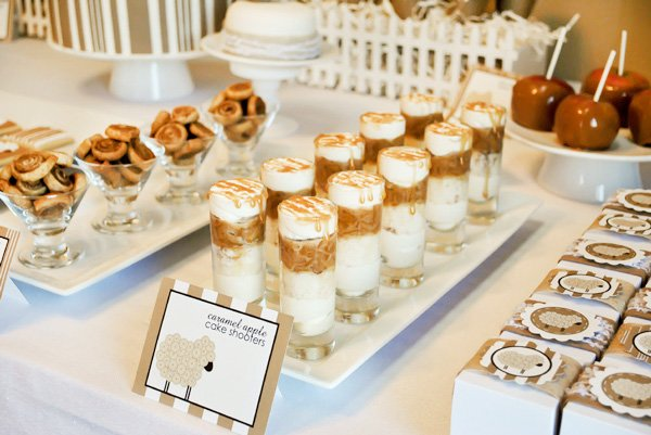 white and tan dessert bar - little lamb first birthday party