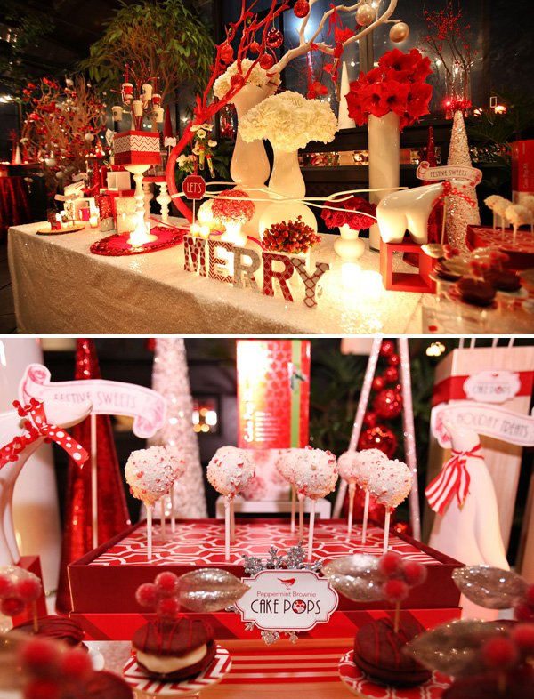 Modern Red and White Holiday Party - Cake Pops and Decor Table