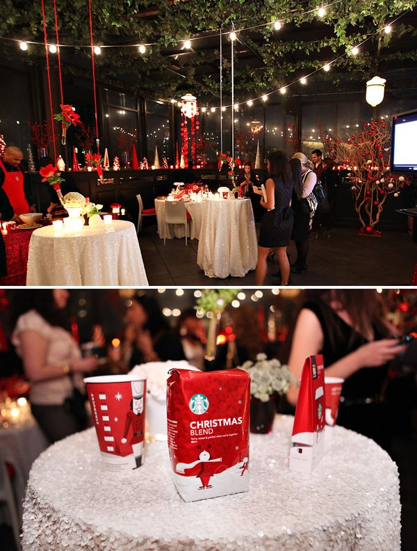 Modern Red and White Holiday Party - Cocktail Tables with sparkly sequin tablecloths