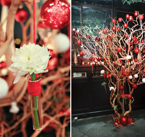 Manzanita Tree with red and white ornaments and hanging flowers in test tubes