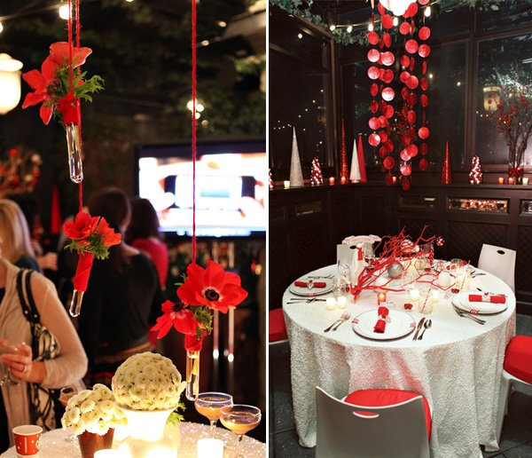 Test tube flowers and modern red and white tablescape with sequins