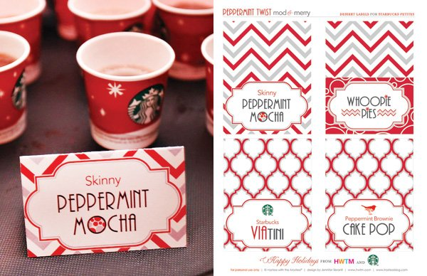 Free Holiday Printables - Food and Drink Labels - Modern Peppermint Twist