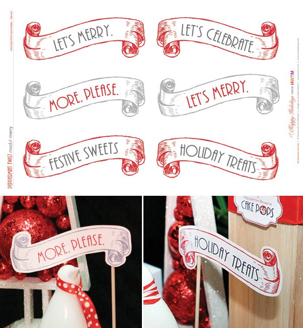 Free Holiday Printables - Small Decorative Scroll Banners - Modern Peppermint Twist