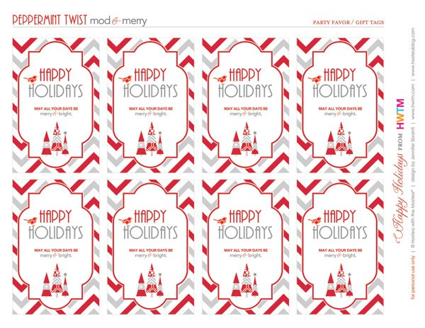 Free Holiday Printables - Favor Tags & Gift Tags - Modern Peppermint Twist