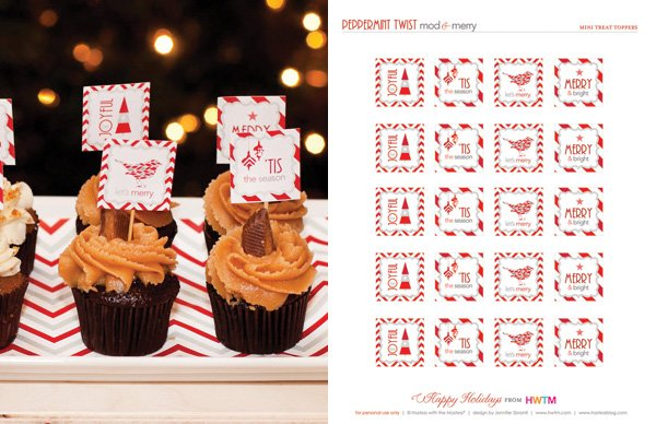 Free Holiday Party Printables - Cupcake & Dessert Toppers - Modern Peppermint Twist