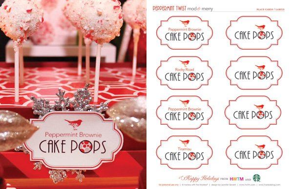 Free Holiday Printables - Cake Pop Labels - Modern Peppermint Twist