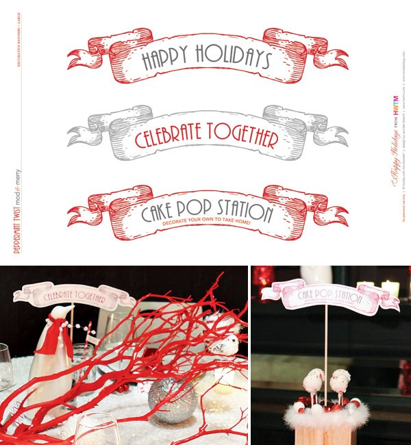 Free Holiday Printables - Large Decorative Scroll Banners - Modern Peppermint Twist