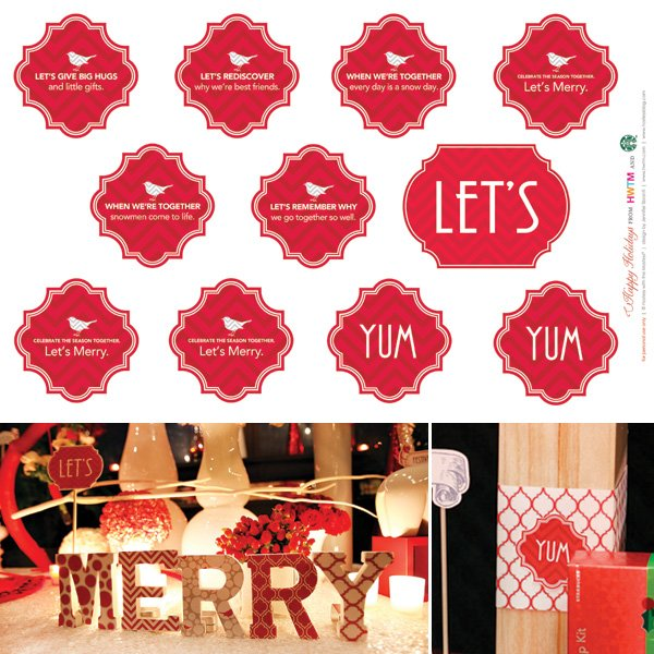 Free Holiday Printables - Party & Dessert Embellishments - Modern Peppermint Twist