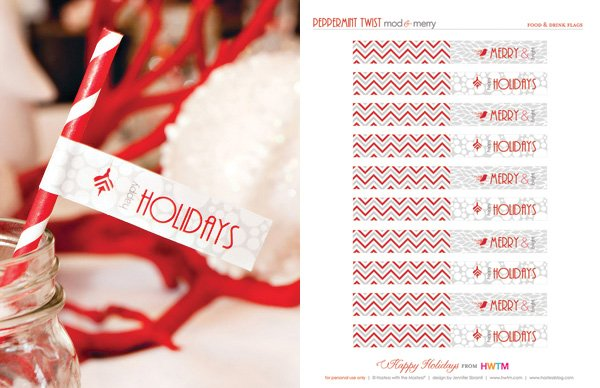 Free Holiday Printables - Drink Flags - Modern Peppermint Twist
