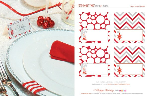 Free Holiday Printables - Place Cards - Modern Peppermint Twist