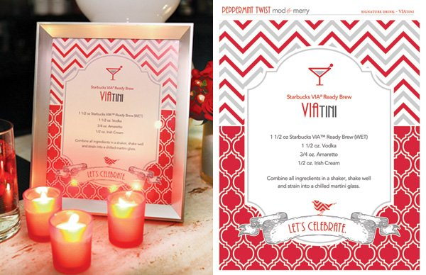 Free Holiday Printables - VIAtini Signature Drink Sign - Modern Peppermint Twist