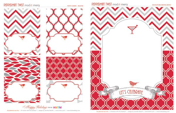 Free Holiday Printables - Blank Signature Drink Template - Modern Peppermint Twist