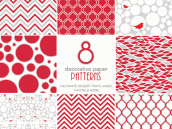 Free Holiday Printables - Red and White Patterned Papers