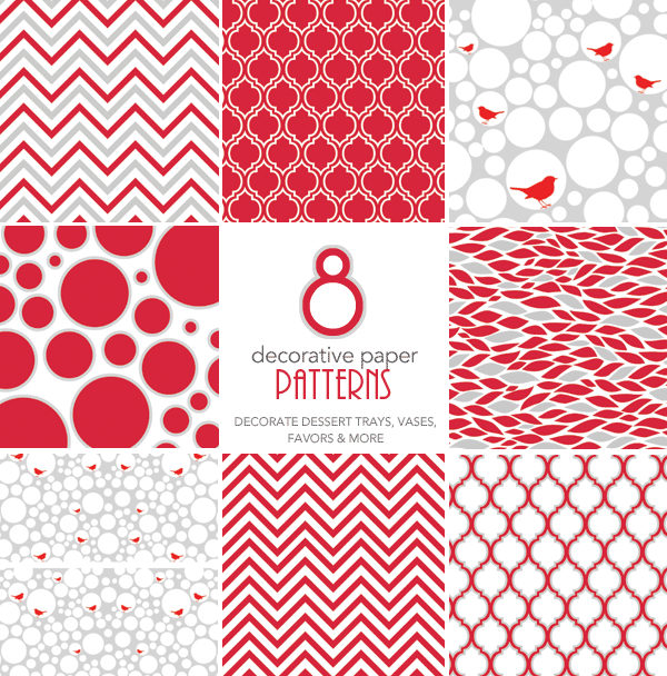 Free Holiday Printables - Modern Red and White Patterned Papers