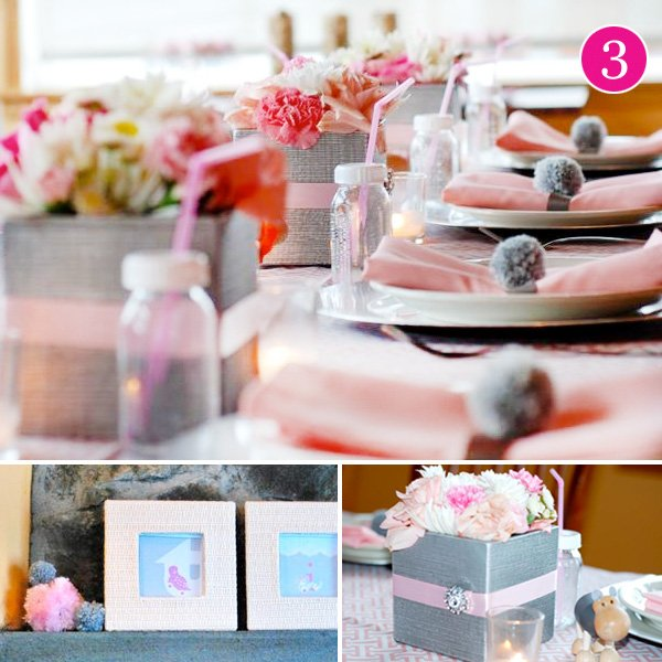pink and gray safari baby shower