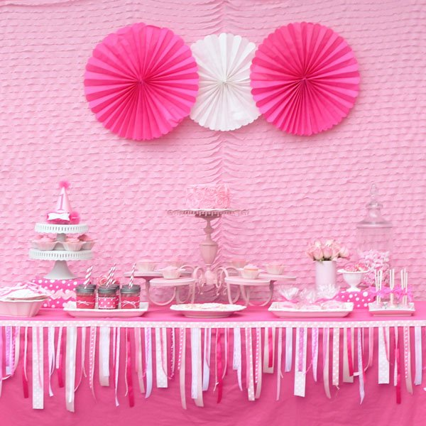 Adorable pretty in pink 1st birthday party hostess with for Table design for 1st birthday