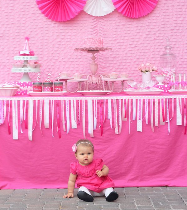 Birthday Girl and Dessert Table