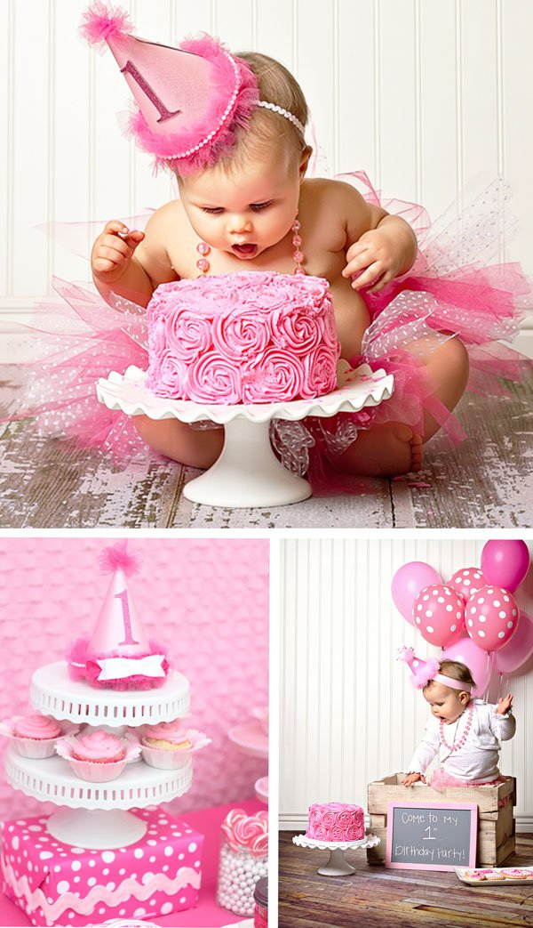 Adorable Pretty in Pink 1st Birthday Party // Hostess with ...