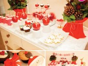 Red and White Christmas Dessert Table