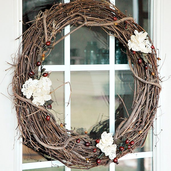 tea stained doily wreath tutorial with berries