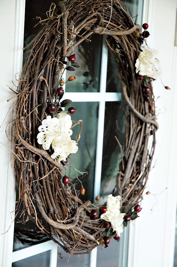 tea stained doily wreath